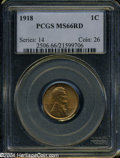 Lincoln Cents: , 1918 MS66 Red PCGS. ...