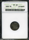 Early Half Dimes: , 1800 H10C VF20 ANACS. ...