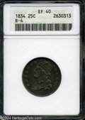 Bust Quarters: , 1834 XF 40 ANACS. Lovely, original patina....