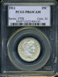 Proof Barber Quarters: , 1911 PR 63 PCGS. Just a bare trace of color is present....