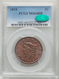 1818 1C N-10, R.1, MS64 Red and Brown PCGS. CAC....(PCGS# 36629)