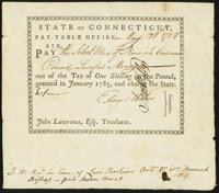 Connecticut Pay Table Office January, 1783 £1 40s Very Fine
