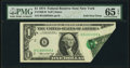 Foldover Error Fr. 1908-B $1 1974 Federal Reserve Note. PMG Gem Uncirculated 65 EPQ