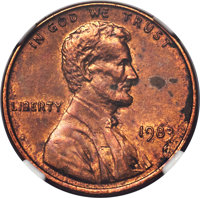 1983 1C Lincoln Cent -- Transitional, Struck on a Bronze Planchet -- MS61 Red and Brown NGC