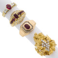 Estate Jewelry:Rings, Ruby, Diamond, Gold Rings. ... (Total: 4 Items)