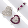 Estate Jewelry:Rings, Ruby, Diamond, Platinum, White Gold Rings. ... (Total: 3 Items)