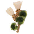 Estate Jewelry:Brooches - Pins, Coral, Nephrite Jade, Diamond, Gold Brooch. ...