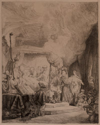 After Rembrandt van Rijn The Death of the Virgin, 1639 Etching and drypoint on laid paper, with ful
