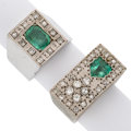 Estate Jewelry:Rings, Gentleman's Emerald, Diamond, White Gold Rings. ... (Total: 2 Items)