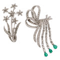 Estate Jewelry:Brooches - Pins, Diamond, Emerald, White Gold Brooches. ... (Total: 2 Items)
