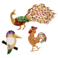 Estate Jewelry:Brooches - Pins, Multi-Stone, Diamond, Enamel, Gold Brooches. ... (Total: 3 Items)