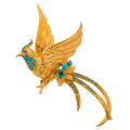 Estate Jewelry:Brooches - Pins, Turquoise, Spinel, Gold Brooch. ...