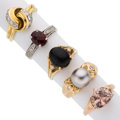 Estate Jewelry:Rings, Multi-Stone, South Sea Cultured Pearl, Diamond, Gold Rings. ... (Total: 5 Items)