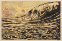 Shepard Fairey (b. 1970) Dark Wave, 2017 Offset lithograph in colors on speckled cream paper 24 x