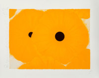 Donald K. Sultan (b. 1951) Six Yellows, 2002 Screenprint in colors with black velvet and flocking on