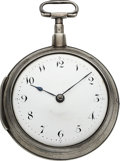 Timepieces:Pocket (pre 1900) , A. Brastow, Lowell MA, Rare Early American Verge Fusee, No. 6, circa 1835. ...
