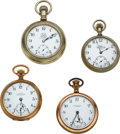 Timepieces:Pocket (post 1900), Four Ball Watches, Triple Signed 21 Jewel B of LE, 17 Jewel B of RT, 16 Jewel Elgin Commercial Standard, 17 Jewel Hamilton Co...