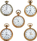 Timepieces:Pocket (pre 1900) , Five Ball Watches, Two B of LE, B of RT, B of LF, Hampden Webb C. Ball Dial. ... (Total: 5 Items)