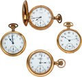 Timepieces:Pocket (post 1900), Four Ball 16 Size, Three Commercial Standard, One RR Standard, One in 14k Gold Case. ... (Total: 4 Items)