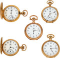 "Timepieces:Pocket (post 1900), Five Ball 14k Gold ""Queen"" Models. ... (Total: 5 Items)"