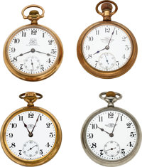 Four Ball Watches, 21 Jewel B of LE, 17 Jewel Ball & Co., Two 19 jewel Grade 999 Official RR Standards ... (Tota...