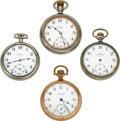 Timepieces:Pocket (pre 1900) , Four Ball Watches, A Very Rare Hamilton 18 Size 23 Jewel Grade 999 Official RR Standard, Railroad Watch Co., Two 17 Jewel 999...