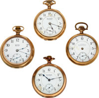 Four Ball Watches, Rare Ball's Standard Superior Grade No. 8636, Two Railroad Watch Co., 17 Jewel Commercial Standard...