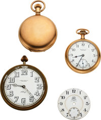 Ball Rare B of LE Marked Case, ORC Double Sunk Dial, 8 Day Travel Clock, 17 Jewel Commercial Standard ... (Total: 4 Item...
