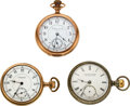 Timepieces:Pocket (post 1900), E. Howard & Co., Two Split Plate L Sizes & One Series V Gilt Movement. ... (Total: 3 Items)