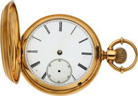 American. Unsigned Watch, 18k Gold 18 Size Hunter Case