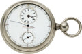 Timepieces:Pocket (pre 1900) , Waltham Appleton Tracy & Co. Rare Silver Chronodrometer Sporting Watch. ...