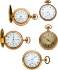 Timepieces:Pocket (post 1900), Five High Grade Walthams, Ultimatum, Two Riverside Maximus, Two 21 Jewel Unmarked American Grade . ... (Total: 5 Items)