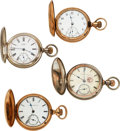 Timepieces:Pocket (pre 1900) , Four Waltham Amn. Grade Model 72 Hunters Cases. ... (Total: 4 Items)