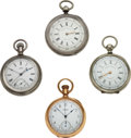 Timepieces:Pocket (pre 1900) , Four Waltham Chronographs. ... (Total: 4 Items)