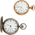 Timepieces:Pocket (pre 1900) , Waltham, Appleton Tracy 20 Size With Abbot's Attachment & Model 57 Excelsior Made For Howard & Co. NY. ... (Total: 2 Items)