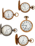 Timepieces:Pocket (pre 1900) , Five Illinois Watches, 21 Jewel Two Tone Burlington Special, Three 10k Gold 8 Size Hunters, One Coin Silver Hunter. ... (Total: 5 Items)