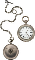 Timepieces:Pocket (pre 1900) , American Unsigned 6 Ounce Cased Keywind, Waltham Ellery For Major L.G. Murphy Lincoln Co. 1875. ... (Total: 2 Items)