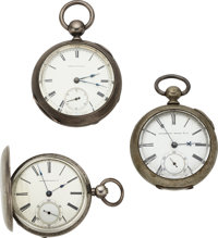 Three Waltham Watches, Model 59 Reversible Pinion, Pinned Plate Bartlett, Model 57 Marked Heat & Cold ... (Total...