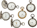 Timepieces:Pocket (pre 1900) , Six Waltham 60 Model Key Wind Watches. ...