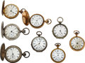 Timepieces:Pocket (pre 1900) , Eight Watches, Three Melrose, Appleton Watch Co., New York Standard Convertible, Waterbury Rare 18 Size, Trenton, Hampden Stat... (Total: 8 Items)