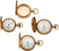 Timepieces:Pocket (pre 1900) , Four 14k Gold Hunters Cases, Three Lancaster Watch Co., On...