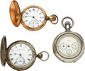 Timepieces:Pocket (pre 1900) , Three Watches, J.P. Stevens No. 144, U.S.W. Co. Ohio State...