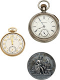 Timepieces:Pocket (pre 1900) , Parsons Horological Institute Finished School Watch, Illinois State Fair Medal & American Academy Denver Watch. ... (Total: 3 Items)