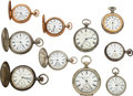 Timepieces:Pocket (post 1900), Ten Waltham Watches Case: six are 6...