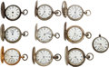 Timepieces:Pocket (pre 1900) , Ten Waltham Watches, Including 59 Model, Left-Hand Watch, Joseph Anderson London Model 57. ... (Total: 10 Items)