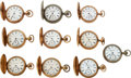 Timepieces:Pocket (pre 1900) , Ten Watches, Nine Keystone Watch Co., Featuring One 20 Jewel Nickel Dust Proof & One Manistee Watch Co.. ... (Total: 10 Items)