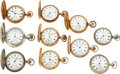 Timepieces:Pocket (pre 1900) , Ten Fredonia Watch Co. 18 Size, Including Early Numbers 84...