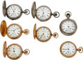 Timepieces:Pocket (pre 1900) , Seven Peoria Watch Co. 18 Size Watches, Runners
