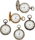 """Timepieces:Pocket (pre 1900) , Five United States Watch Co., Frederic Atherton Co., Fayette Stratton, Cincinnati Enquirer, """"Improved"""" and Private Label. ... (Total: 5 Items)"""