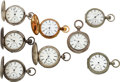 Timepieces:Pocket (pre 1900) , Eight Newark Watch Co., Four Are Key Wind, Four Arthur Wadsworth Patented Keyless Watch. ... (Total: 8 Items)